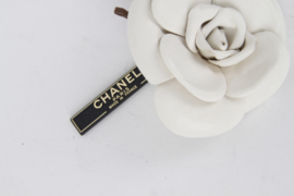Chanel White Pink Leather Camellia Flower Brooch