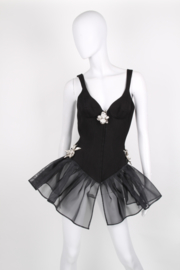 Thierry Mugler Black Cotton Fitted Strappy Crinoline Sleeveless Rhinestone Embellished Skirt Dress