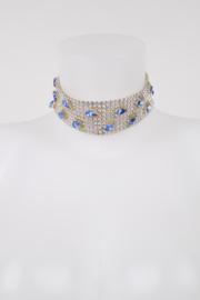 Dolce and Gabbana Blue Rhinestone Drop Swarovski Choker