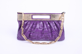 Versace Leather Clutch Croco Print - purple