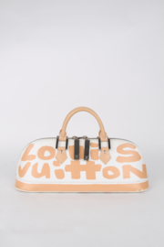 Louis Vuitton Limited Edition Stephen Sprouse White Beige Leather LV Logo Silver Coloured Hardware BB Alma Hand Bag