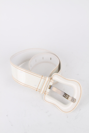 Fendi White Patent Leather Statement Buckle Belt