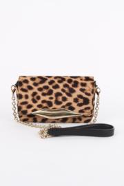 Diane Von Furstenberg Brown Fur Leopard Print Calf Hair Flirty Mini Crossbody Bag