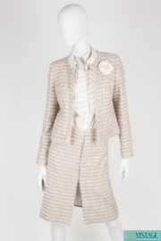 Chanel 3-pcs Suit Jacket, Skirt & Blouse - pink/green/gray/off-white