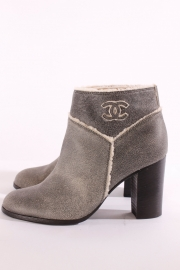 Chanel Ankle Boots - grey leather/fur