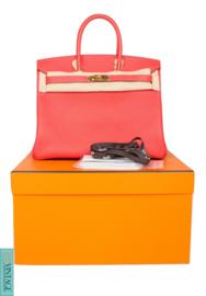 Hermès Birkin Bag 35 Taurillon Clemence Rouge Pivoine  - goldtone hardware