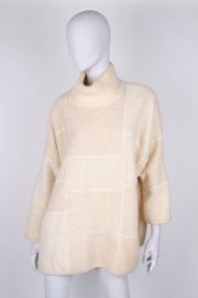Escada Creme Paneled Cowl Neck Wool Oversized Knit Sweater