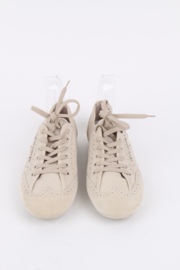 Louis Vuitton Light Beige Nubuck Leather Lace Up Brogue Sneakers