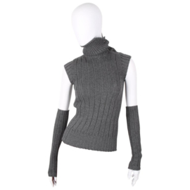 Chanel 2004 Fall/Winter cashmere ribbed asymmetric knit collar ensemble