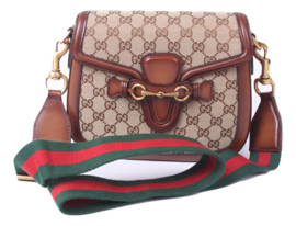 Gucci Lady Web Shoulder Bag Medium Leather Canvas - brown