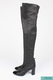 Chanel Tall Stretch Quilted and Puckered Leather Boots - black