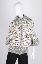 Stella McCartney Knitted Wool Cardigan - black & white