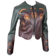Givenchy peacock feather applique leather jacket