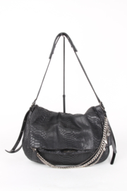 Jimmy Choo Black Python Leather Medium Logo Silver Coloured Hardware Shoulder Tote Biker Hand Bag