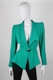 Thierry Mugler Electric Green Structured Shawl Collar Synched Wasp Waist Long Sleeve Angel Perfume Bottle Starburst Brooch Power Jacket