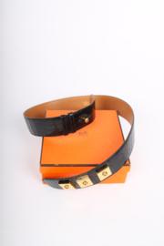 Hermes Alligator Piano Leather Belt - black/gold