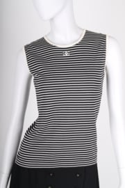 Chanel Striped Sleeveless Top - black & white