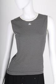 Chanel Striped Sleeveless Top - black & white