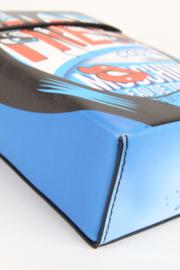Moschino Couture Blue Leather Eau De Toilette Cartoon Pop Art Silver Hardware Crossbody Bag