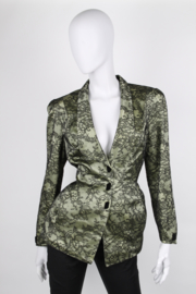 Thierry Mugler Green Silk Lace Appliqué Shawl Collar Synched Wasp Waist Long Sleeve Jacket