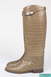Hermès Jumping Riding Equestrian Boots Taupe Alligator Leather