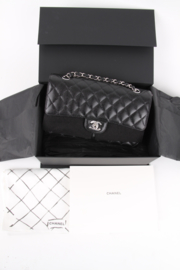 Chanel Timeless Medium Black Leather Double Flap Bag Caviar Leather Silver Hardware Shoulder Bag