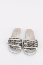 Chanel Silver Mules Chain Slides Sandals Flats