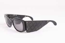 Vintage Chanel Sunglasses with Black Leather Quilted Temples - black