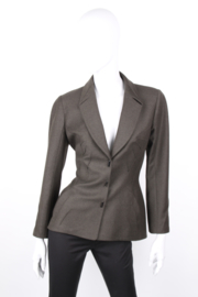 Thierry Mugler Green Cashmere Synched Blazer Jacket Skirt Suit