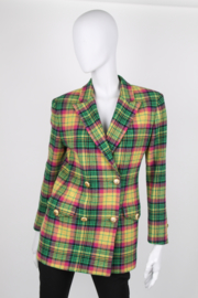 Versace Sport 90's Pink Yellow Green Multicolor Alpaca Wool Longsleeve Double Breasted Jacket