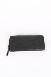 Louis Vuitton Black Monogram Empreinte Clémence Zip Wallet