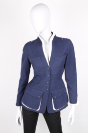 Thierry Mugler Navy Blue Cotton Structured White Silk Mandarin Collar Synched Wasp Waist Long Sleeve Corset Star Button Safari Jacket