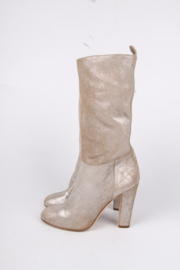 Chanel Metallic Goldtone Scuffed Leather Boots - gold