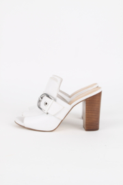 Michael By Michael Kors White Leather Open Toe Silver Plated Hardware Sandals