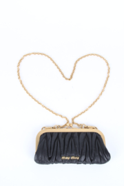 Miu Miu Black Kiss Lock Matelasse Mini Chain Clutch