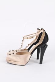 Chanel Satin Pumps - black/beige