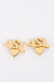 Yves Saint Laurent Gold Logo Initials Heart Clip-On Earrings