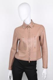 Valentino Camel Rose Rockstud-Trim Leather Jacket