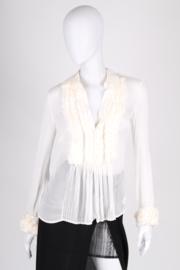 CLASS Roberto Cavalli Sheer Silk Blouse - white