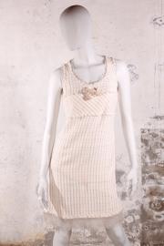 Chanel jurk - bouclé ivoor/roze/lichtblauw