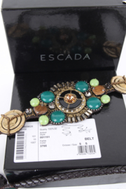 Escada Green Embellished Leather String Belt