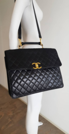 Chanel Vintage Extremely Rare 90's XL Black Quilted Leather CC-Logo Briefcase Strap Bag