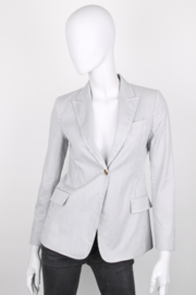 Gucci White Blue Single-Breasted Pinstripe Cotton Blazer