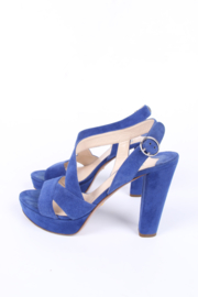 Prada High Heeled Suede Sandals - royal blue