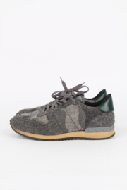 Valentino Garavani Grey Cloth Camouflage Print Rockstud Low Top Sneakers Trainers