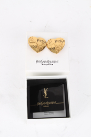 Yves Saint Laurent Gold-Plated Logo Heart Clip-On Earrings