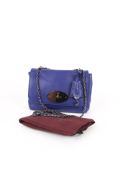 Mulberry Lily Electric Blue Leather Silver Plated Hardware Chain Strap Shoulder Crossbody Turnlock Flap Bag