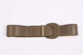 Versace Leather Belt - olive