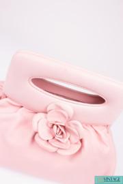 Chanel Lambskin Camellia Clutch Top Handle Bag - light pink