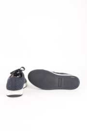 Lanvin Blue Leather Basket Weave White Sole Low Top Sneakers Trainers